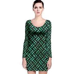 WOV2 BK-GR MARBLE Long Sleeve Velvet Bodycon Dress