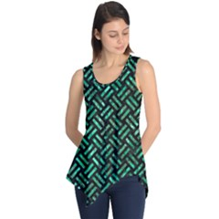 Woven2 Black Marble & Green Marble Sleeveless Tunic