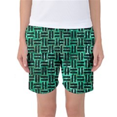 Woven1 Black Marble & Green Marble (r) Women s Basketball Shorts