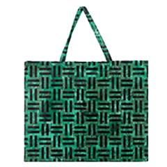 WOV1 BK-GR MARBLE (R) Zipper Large Tote Bag