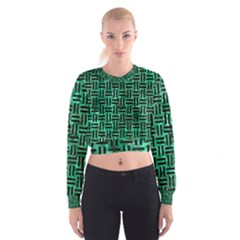 Woven1 Black Marble & Green Marble (r) Cropped Sweatshirt