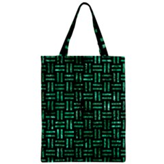 Woven1 Black Marble & Green Marble Zipper Classic Tote Bag