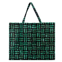Woven1 Black Marble & Green Marble Zipper Large Tote Bag