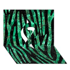 Skin4 Black Marble & Green Marble (r) Ribbon 3d Greeting Card (7x5)