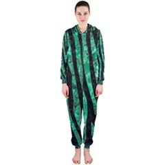 Skin4 Black Marble & Green Marble (r) Hooded Jumpsuit (ladies)