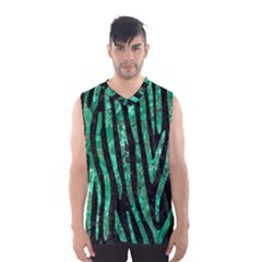 Skin4 Black Marble & Green Marble (r) Men s Basketball Tank Top