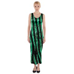 Skin4 Black Marble & Green Marble (r) Fitted Maxi Dress