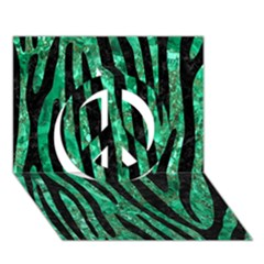 Skin4 Black Marble & Green Marble Peace Sign 3d Greeting Card (7x5)