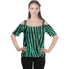 Skin4 Black Marble & Green Marble Cutout Shoulder Tee