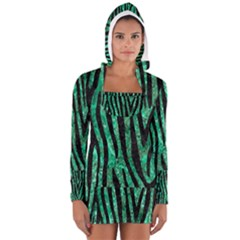 Skin4 Black Marble & Green Marble Long Sleeve Hooded T Shirt