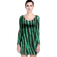 SKN4 BK-GR MARBLE Long Sleeve Velvet Bodycon Dress