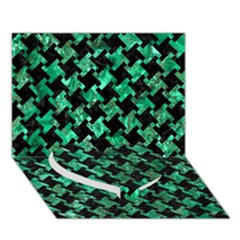Houndstooth2 Black Marble & Green Marble Heart Bottom 3d Greeting Card (7x5)