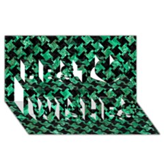 Houndstooth2 Black Marble & Green Marble Best Wish 3d Greeting Card (8x4)