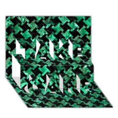 Houndstooth2 Black Marble & Green Marble Take Care 3d Greeting Card (7x5)