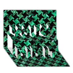 Houndstooth2 Black Marble & Green Marble You Did It 3d Greeting Card (7x5)