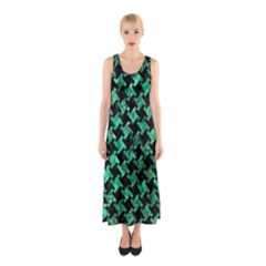 Houndstooth2 Black Marble & Green Marble Sleeveless Maxi Dress