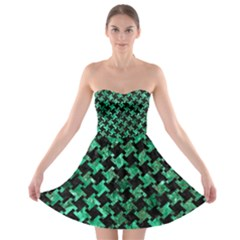 Houndstooth2 Black Marble & Green Marble Strapless Bra Top Dress