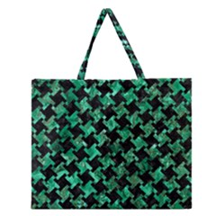 Houndstooth2 Black Marble & Green Marble Zipper Large Tote Bag