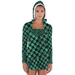Houndstooth2 Black Marble & Green Marble Long Sleeve Hooded T Shirt