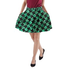 Houndstooth2 Black Marble & Green Marble A Line Pocket Skirt