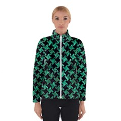 Houndstooth2 Black Marble & Green Marble Winter Jacket