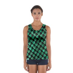 Houndstooth2 Black Marble & Green Marble Sport Tank Top