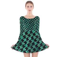 Houndstooth2 Black Marble & Green Marble Long Sleeve Velvet Skater Dress