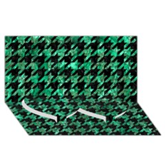 Houndstooth1 Black Marble & Green Marble Twin Heart Bottom 3d Greeting Card (8x4)