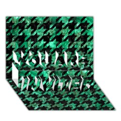 Houndstooth1 Black Marble & Green Marble You Are Invited 3d Greeting Card (7x5)