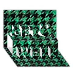 Houndstooth1 Black Marble & Green Marble Get Well 3d Greeting Card (7x5)