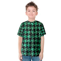 Houndstooth1 Black Marble & Green Marble Kids  Cotton Tee