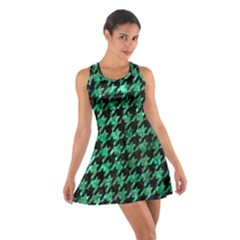 Houndstooth1 Black Marble & Green Marble Cotton Racerback Dress