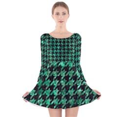 HTH1 BK-GR MARBLE Long Sleeve Velvet Skater Dress