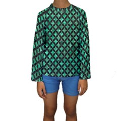 Circles3 Black Marble & Green Marble (r) Kids  Long Sleeve Swimwear