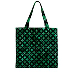 Circles3 Black Marble & Green Marble (r) Zipper Grocery Tote Bag