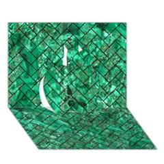 Brick2 Black Marble & Green Marble (r) Apple 3d Greeting Card (7x5)
