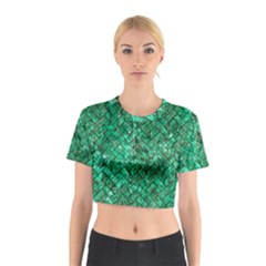 Brick2 Black Marble & Green Marble (r) Cotton Crop Top