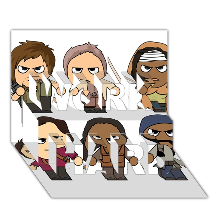 The Walking Dead   Main Characters Chibi   Amc Walking Dead   Manga Dead WORK HARD 3D Greeting Card (7x5)
