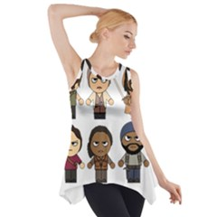 The Walking Dead   Main Characters Chibi   Amc Walking Dead   Manga Dead Side Drop Tank Tunic