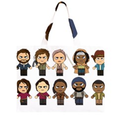 The Walking Dead   Main Characters Chibi   Amc Walking Dead   Manga Dead Large Tote Bag