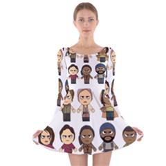 The Walking Dead   Main Characters Chibi   Amc Walking Dead   Manga Dead Long Sleeve Velvet Skater Dress