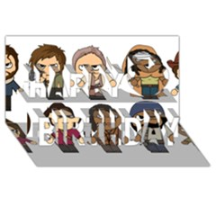The Walking Dead   Main Characters Chibi   Amc Walking Dead   Manga Dead Happy Birthday 3d Greeting Card (8x4)