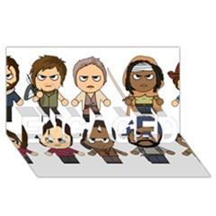 The Walking Dead   Main Characters Chibi   Amc Walking Dead   Manga Dead Engaged 3d Greeting Card (8x4)