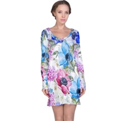 Watercolor Spring Flowers Long Sleeve Nightdress