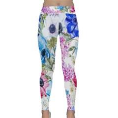 Watercolor Spring Flowers Yoga Leggings