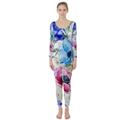 Watercolor spring flowers Long Sleeve Catsuit