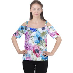 Watercolor spring flowers Women s Cutout Shoulder Tee