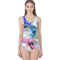 Watercolor spring flowers One Piece Swimsuit