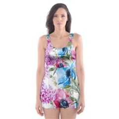 Watercolor spring flowers Skater Dress Swimsuit
