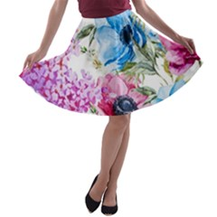 Watercolor Spring Flowers A Line Skater Skirt